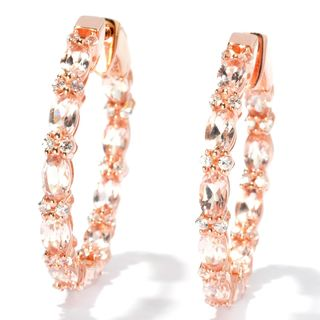 Rose Goldplated Silver Morganite and Created White Sapphire Hoop Earrings