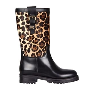 Dolce & Gabbana Black Leopard-print Leather Size 6 Boots