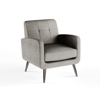 Handy Living Kingston Mid Century Dove Grey Linen Arm Chair