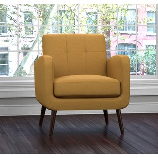 Handy Living Kingston Mid Century Mustard Yellow Linen Arm Chair