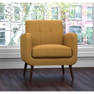 Great Handy Living Kingston Mid Century Mustard Yellow Linen Arm Chair
