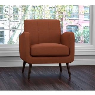handy living kingston mid century orange linen arm chair