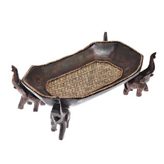 Confident Elephants Handmade Rectangular Wooden Tray (Thailand)