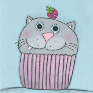 Marmont Hill - 'Kitten with Raspberry' by Tatijana Lawrence Painting Print on Wrapped Canvas