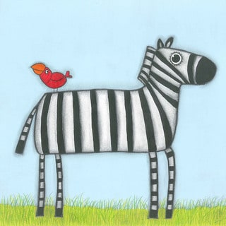 Marmont Hill - 'A Zebra with Red Bird' by Tatijana Lawrence Painting Print on Wrapped Canvas