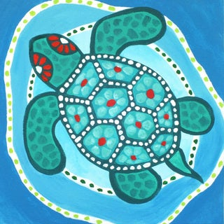 Marmont Hill - 'Funky Turtle' by Nicola Joyner Painting Print on Wrapped Canvas