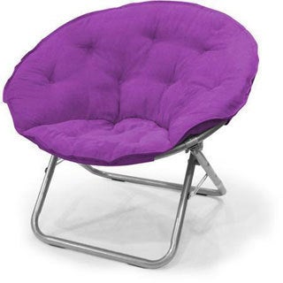 Purple Microsuede/Metal Large Contemporary Saucer Chair