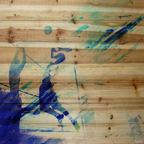Handmade Parvez Taj - Dusk Volleyball Print on Natural Pine Wood