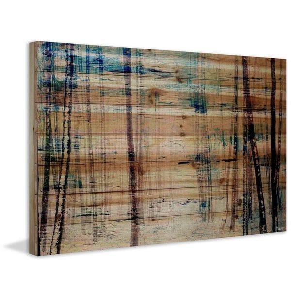 Parvez Taj - 'Splash of Blue Sky' Painting Print on Natural Pine Wood - Multi-color