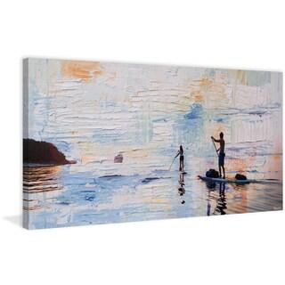 Parvez Taj - 'Dusk Paddling' Painting Print on Wrapped Canvas