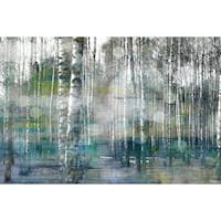 Parvez Taj - 'Tree Trunk Lights' Painting Print on Wrapped Canvas - Multi-color