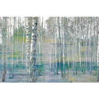 Handmade Parvez Taj - Teal Tree Forest Print on Wrapped Canvas