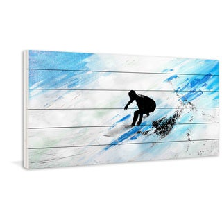 Parvez Taj - 'White Surf Riding' Painting Print on White Wood