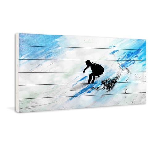 Handmade Parvez Taj - White Surf Riding Print on White Wood