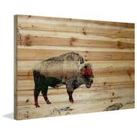 Parvez Taj - 'Lost Buffalo' Painting Print on Natural Pine Wood - Multi-color