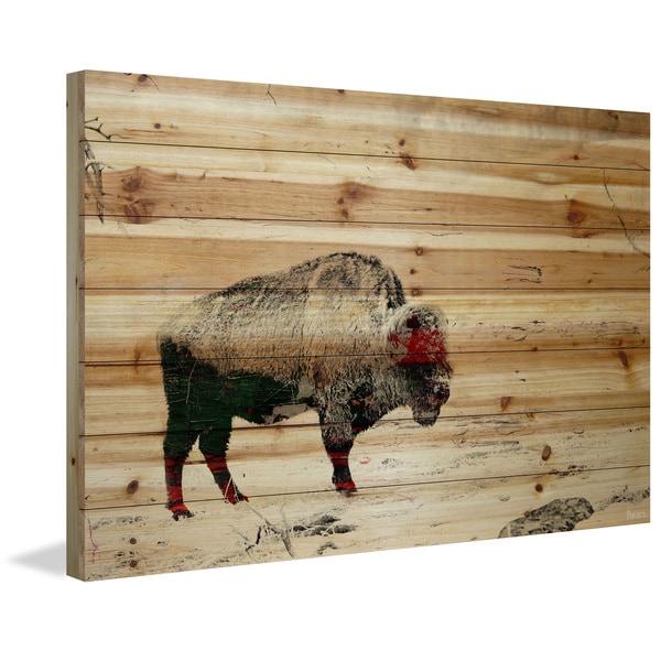 Handmade Parvez Taj - Lost Buffalo Print on Natural Pine Wood