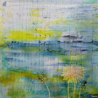 Parvez Taj - 'Water Blooms' Painting Print on Wrapped Canvas