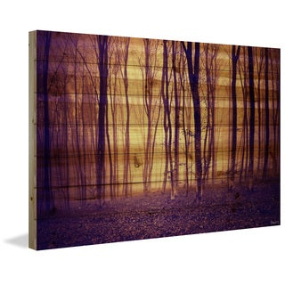Parvez Taj - 'Crimson Forest' Painting Print on Natural Pine Wood