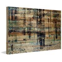 Parvez Taj - 'Deserted Forest' Painting Print on Natural Pine Wood - Multi-color