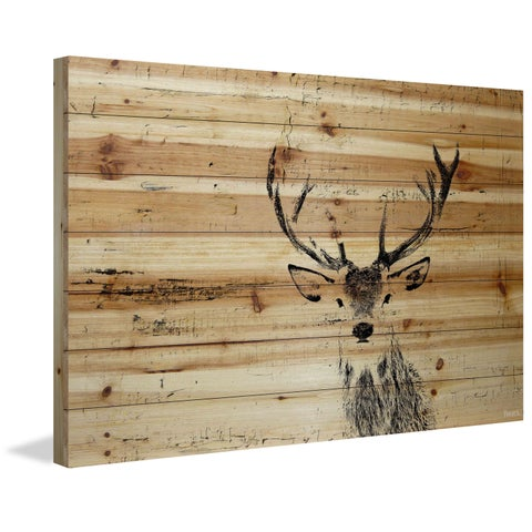 Parvez Taj - 'Inquisitive Deer' Painting Print on Natural Pine Wood - Multi-color