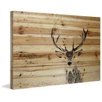 Parvez Taj - 'Inquisitive Deer' Painting Print on Natural Pine Wood - Multi-color