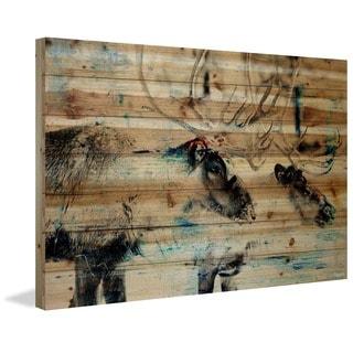 Parvez Taj - 'Conversating Deer' Painting Print on Natural Pine Wood