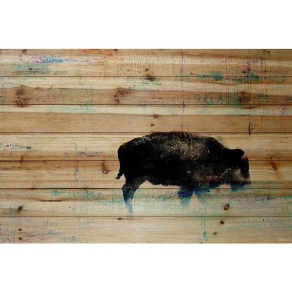 Handmade Parvez Taj - The Buffalo Knows Print on Natural Pine Wood
