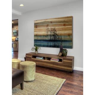 Parvez Taj - 'Tree Isle Reflects' Painting Print on Natural Pine Wood