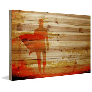 Parvez Taj - 'Dusk Red Surf' Painting Print on Natural Pine Wood - Multi-color