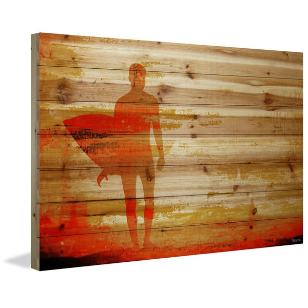 Marmont Hill - Handmade Parvez Taj - Dusk Red Surf Painting Print on Natural Pine Wood