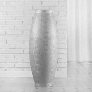 PoliVaz Silver Crosshatch Barrel Vase (Indonesia)