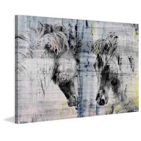 Parvez Taj - 'Facing Horses' Painting Print on Wrapped Canvas
