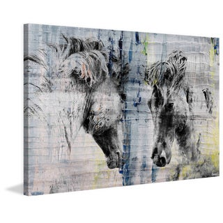 Parvez Taj - 'Facing Horses' Painting Print on Wrapped Canvas