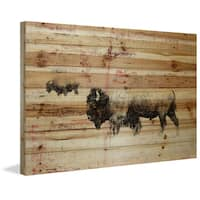 Parvez Taj - 'Buffalo Walking' Painting Print on Natural Pine Wood - Multi-color
