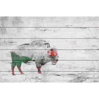 Handmade Parvez Taj - Snow Buffalo Print on White Wood