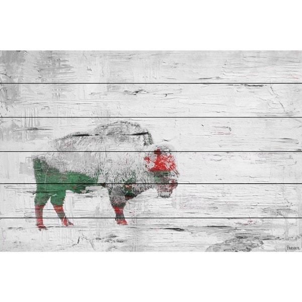 Parvez Taj - 'Snow Buffalo' Painting Print on White Wood - Multi-color
