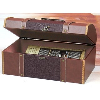 Vintiquewise Brown Faux Leather and Wood Family Room Magazine Treasure Chest