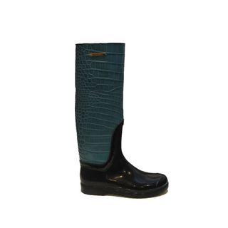 Dolce Gabbana Women's Teal Blue Crocodile Rain Boots