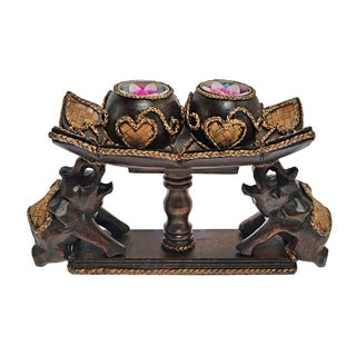 Elephant Balancing a Pedastal Rain Tree Wood Candle Holder (Thailand)