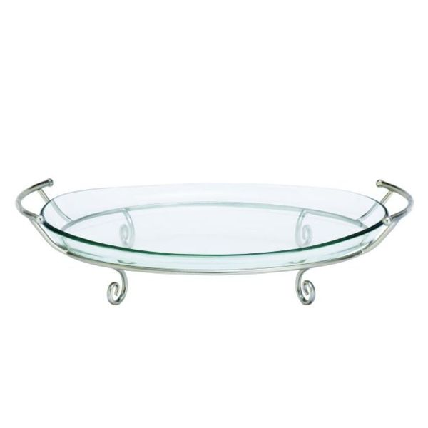 Studio 350 Metal Glass Silver Tray 23 inches wide, 5 inches high