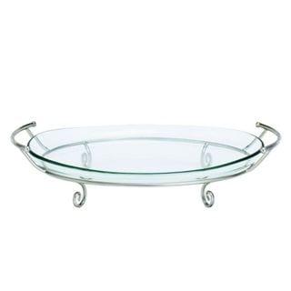 Benzara Silver-tone Metal/Glass Tray