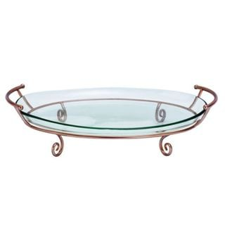 Brown Metal/Glass Copper Tray