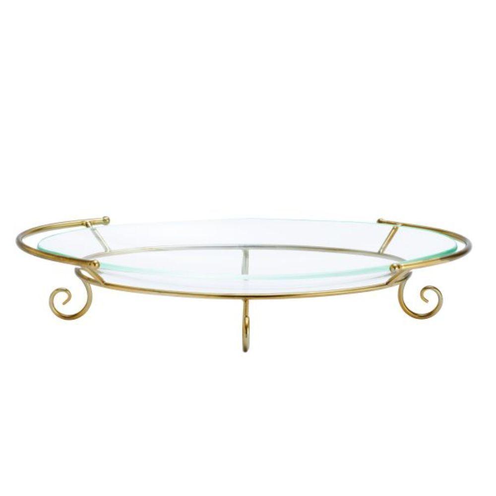 Benzara Gold-tone Metal Glass Tray (Gold)