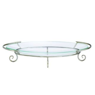 Benzara Silver-tone Metal and Glass 25-inch Wide x 5-inch High Tray