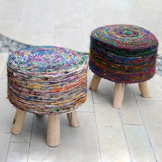 Christopher Knight Home Silk Multi Swirl Fabric Round Stool