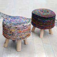 Silk Multi Swirl Fabric Round Stool by Christopher Knight Home
