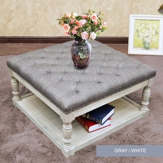 Cairona Fabric 30-inch Tufted Shelved Ottoman (6 Colors)