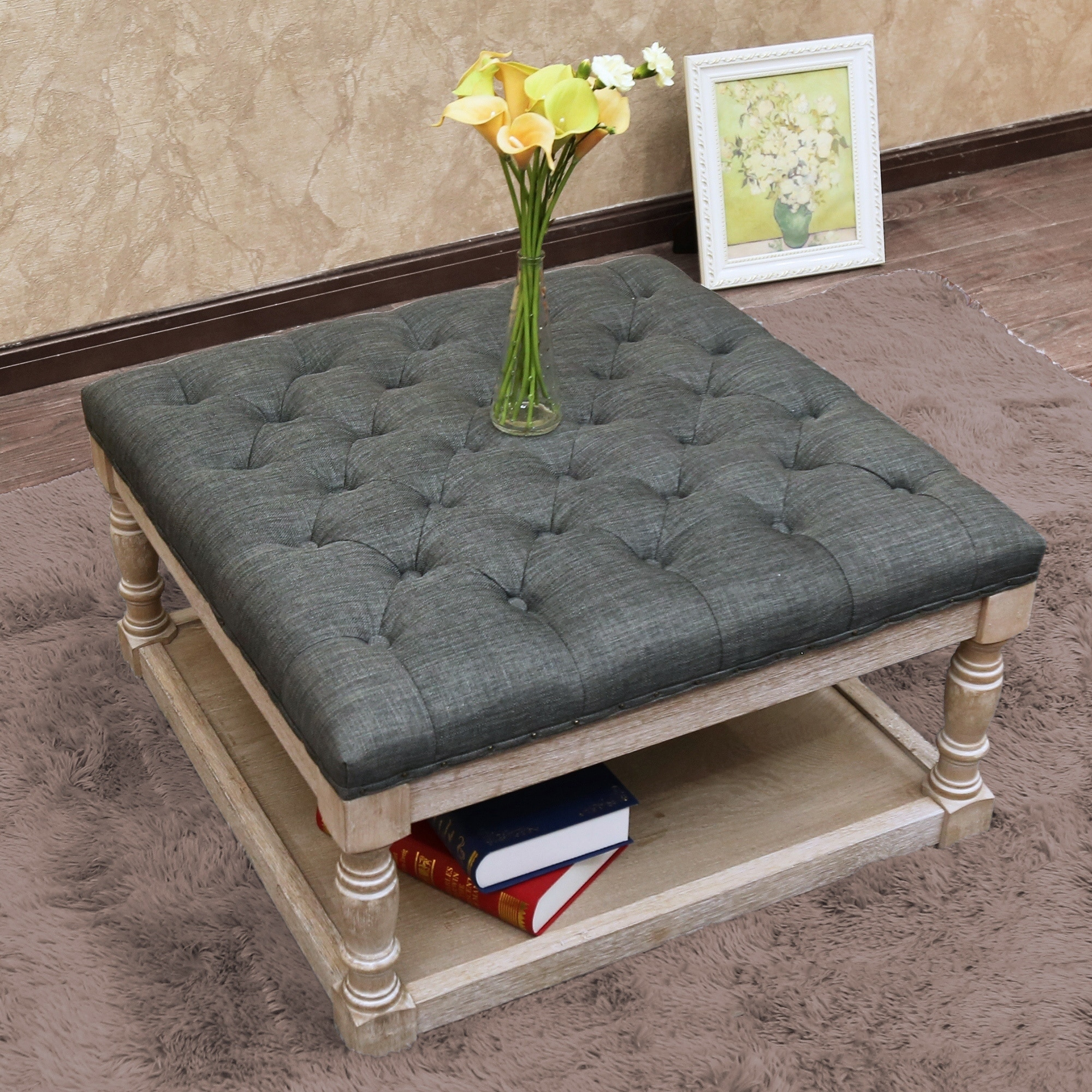 Enjoyable Cairona Fabric 30 Inch Tufted Shelved Ottoman Optional Colors Machost Co Dining Chair Design Ideas Machostcouk
