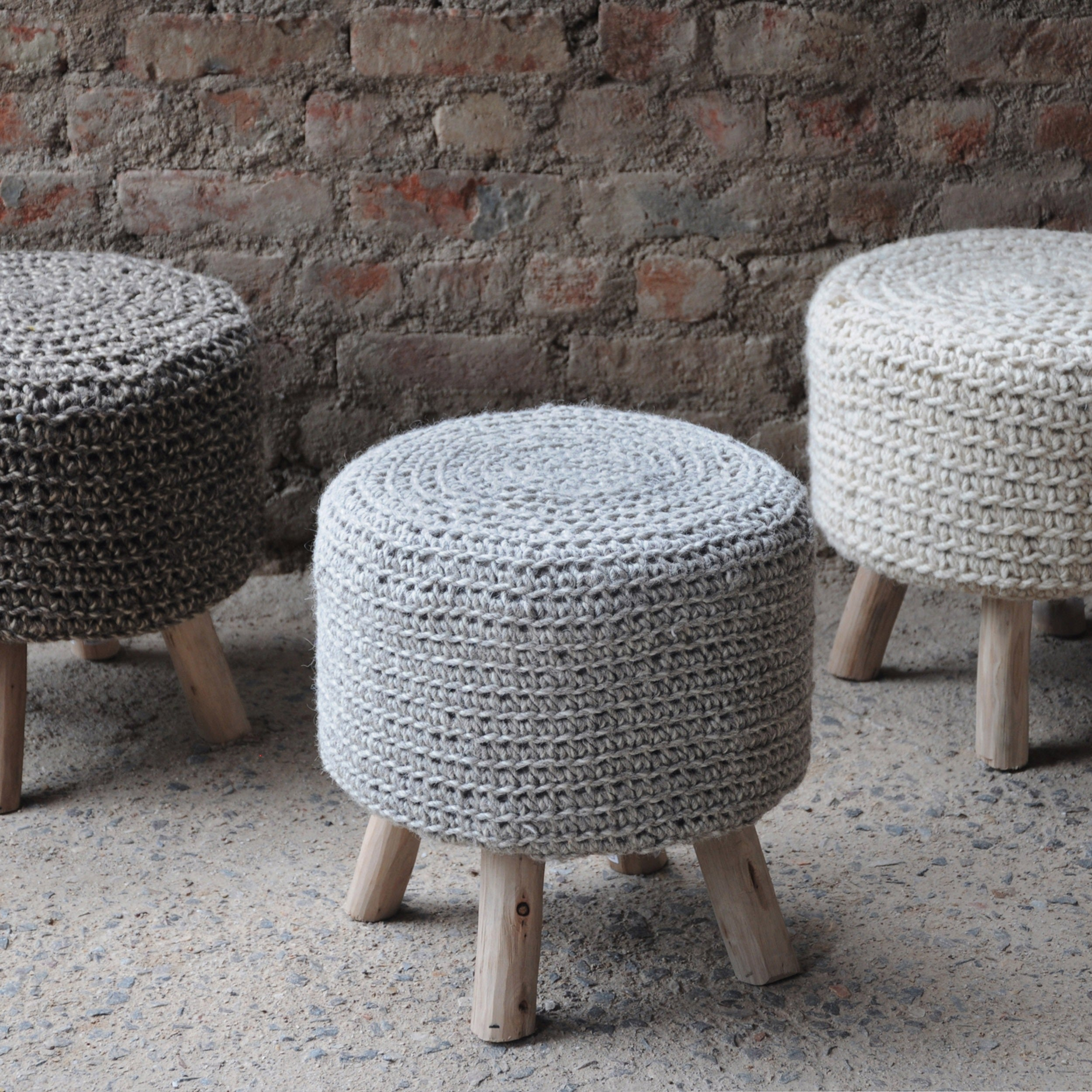 Awesome Christopher Knight Home Montana Knitted Fabric Round Ottoman Stool Machost Co Dining Chair Design Ideas Machostcouk