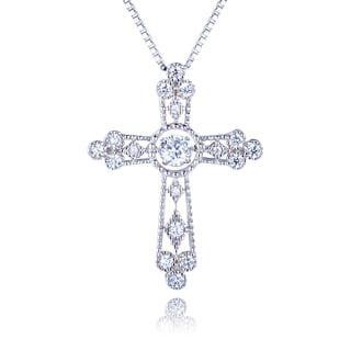 Sterling Silver Created White Sapphire Dancing Stone Cross
